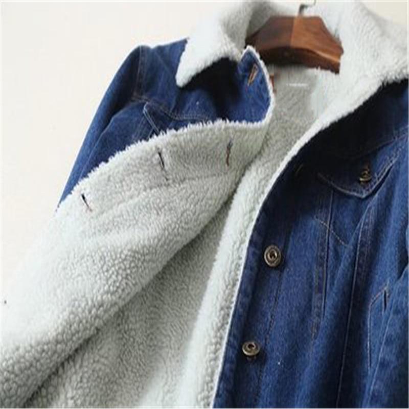 Blue Jacetsd376 Autumn With Coat 2018 Jean Version Korean Sleeves Denim Lambswool Winter Wide Jeans Women Long Outwear New Warm AASwTqU
