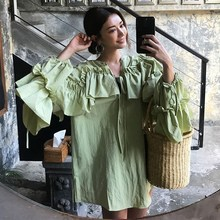 2019 New Summer Dress Women V Neck Lantern Sleeve Ruffles Shirts Vintage Asymmetrical V-Neck