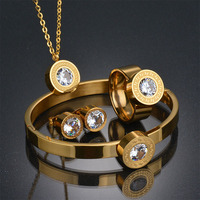 Brand Stainless Steel Dubai 7 Color CZ Ring Bracelet Earrings Necklace Set Rose Gold Plated CZ