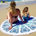 100% Cotton Thick Round Hippie Beach Towels Tassel Printed Indian Mandala Bohemian Tapestry Wall Hanging Yoga Picnic Mat Blanket