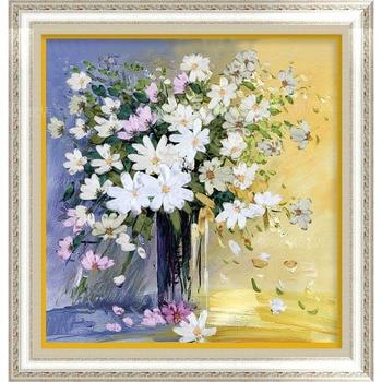 Margarida flores vaso do ponto da cruz kit Fita bordados 3D diamante DIY pintura bordado decoroate presente ofício adesivos de parede em casa