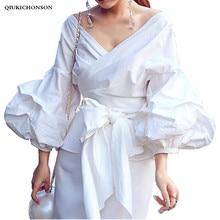2016 new arrivals women summer autumn white blouse V-neck lantern sleeve sexy elegant shirts female fashion tops