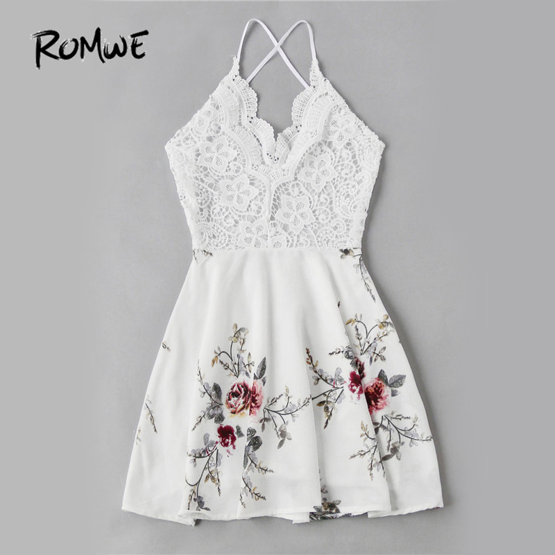 ROMWE White Vintage Lace Dress Floral Print Women Sexy Cross Back Patchwork Summer 2017 Sweet Empire A Line Beach In Dresses From Womens