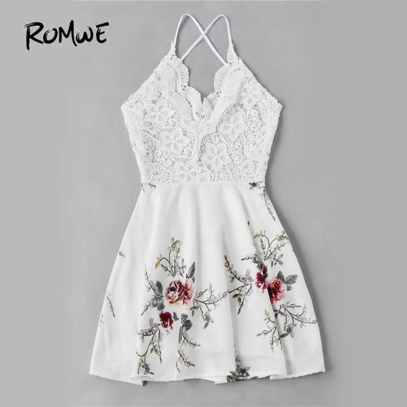 d0c96eaf374 ... ROMWE White Vintage Lace Dress Floral Print Women Sexy Cross Back  Patchwork Summer Dress 2018 Sweet ...