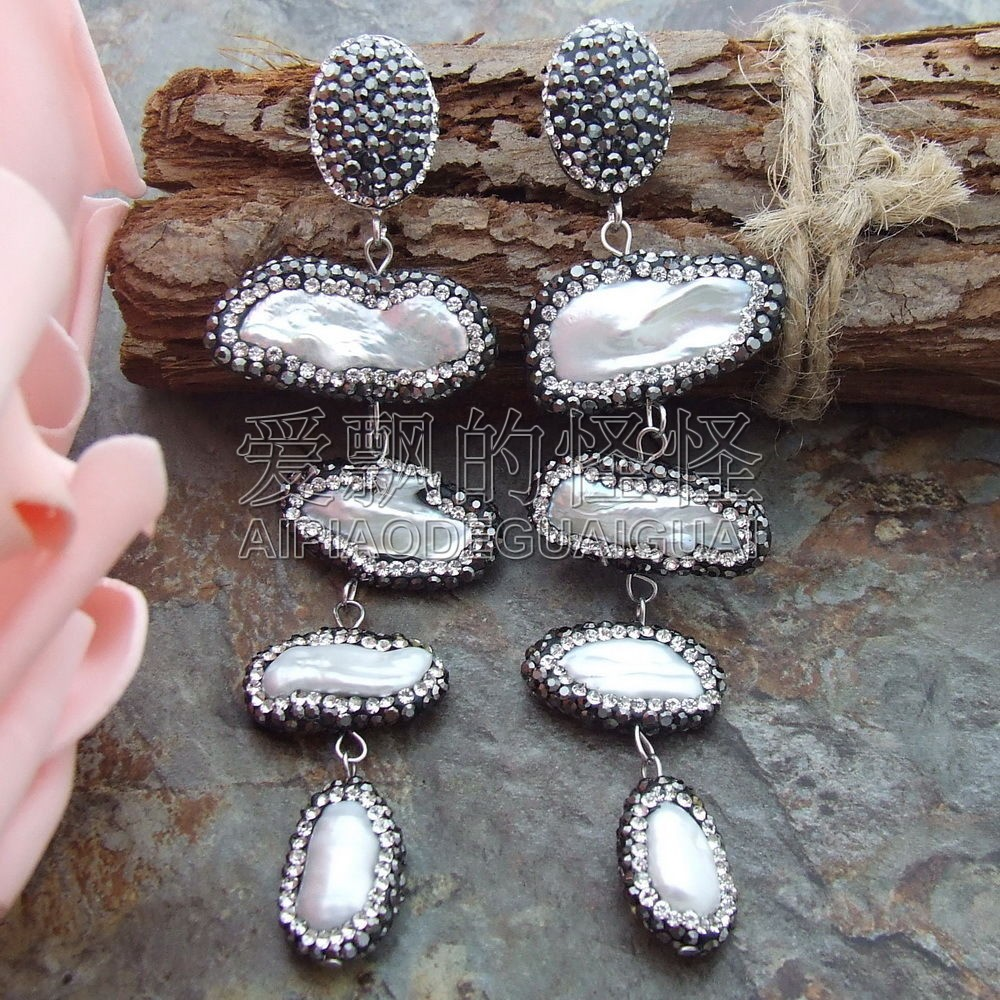 E082414 White Biwa Pearl Earrings-in Drop Earrings From