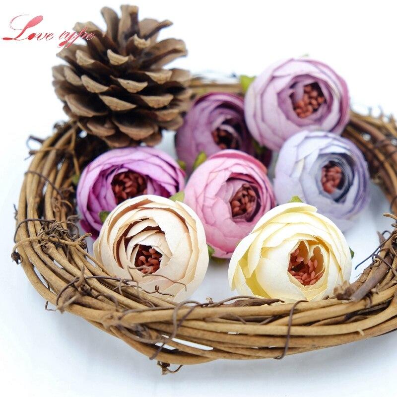 5pcs Small Silk Artificial Tea Rose Bud Flower Head For