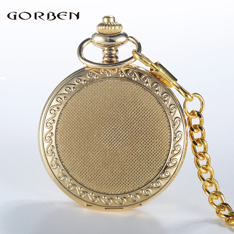 Vintage Golden Silver Pocket Watch Men Roman Numeral Quartz Pendant Clock Fob Chain Gift For Men Relogio de bolso luxury antique skeleton cooper mechanical automatic pocket watch men women chic gift with chain relogio de bolso