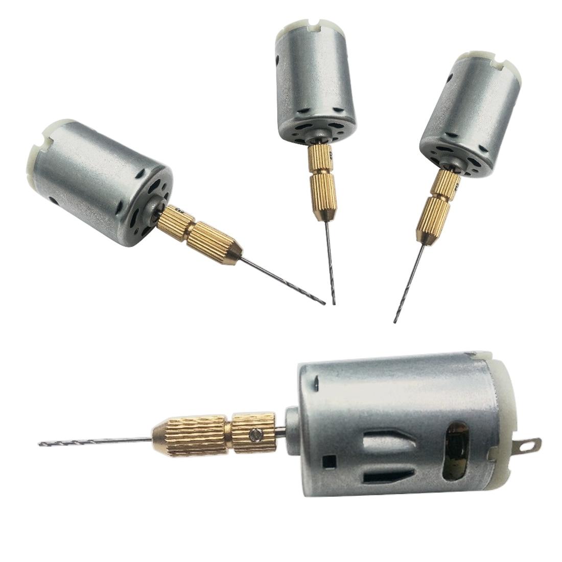 Hot 1pc High-quality JT0 Chucks Tool + 1pc DC 12V Electric Hand Drill Motor PCB Press Drilling Compact Set 1.0-1.5 Twist Bits