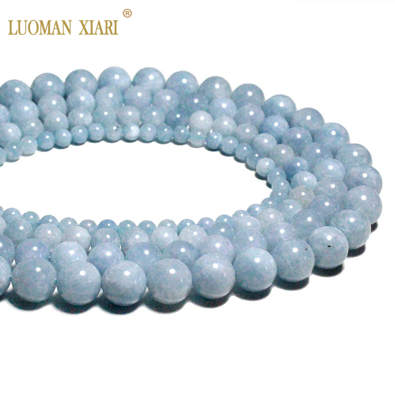 À faire soi-même 4//6//8//10//12mm pierre naturelle Amazonite Bleu Rond Beads Fit Bracelet
