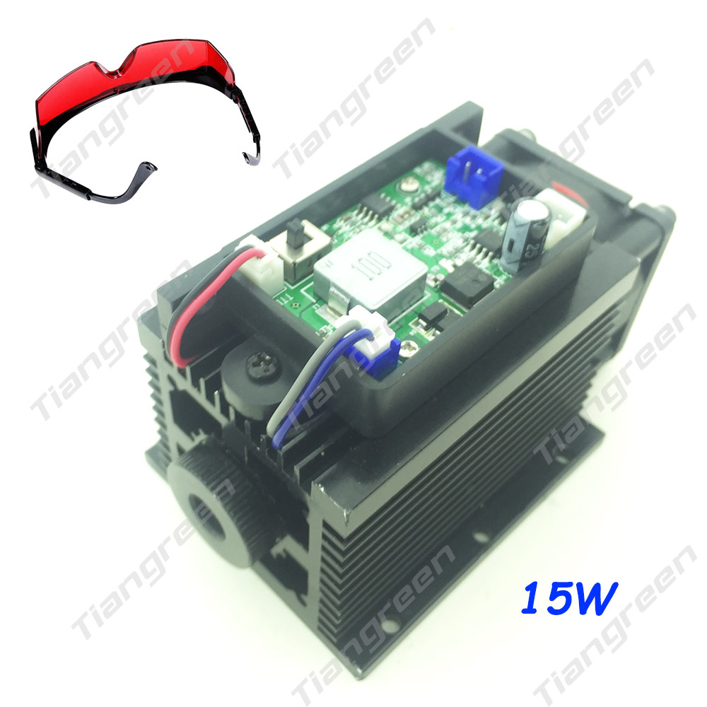 15w laser head engraving module high power 15000mw blue color laser head diy metal engraving 450nm lasers with ttl driver tgleiser 15W High Power Laser Head Module Diode Metal Marking 450nm Blue 15000mW Laser Engraving Machine free glasses