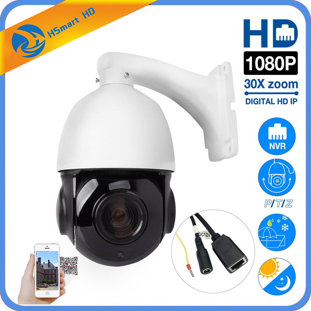 Câmera PTZ IP 2MP H.265 Super HD 1080 P Pan/Tilt 30x Zoom IR Night 80 m Speed Dome embutido POE Onvif Para POE NVR Sistemas de câmeras