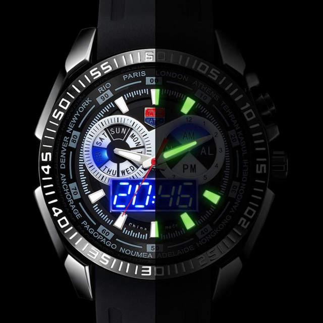 b617692887a Tvg marca de topo relógios esportivos de luxo homens azul monitor lcd digital  analógico de quartzo