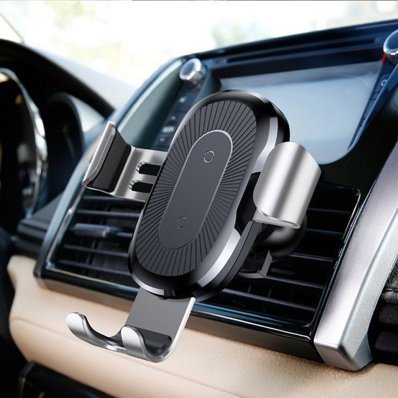 Chargeur de voiture rapide sans fil support de montage téléphone portable chargeur sans fil support de gravité en métal capteur infrarouge automatique de charge - 3