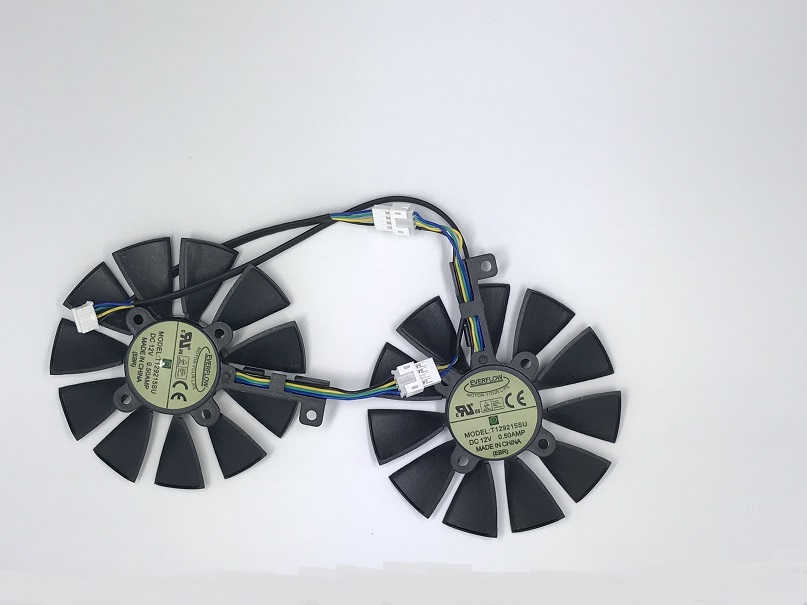 Computer VGA gpu cooler graphics card 85mm fan t129215su for ASUS ROG STRIX Video cards cooling 75mm pld08010s12hh graphics video card cooling fan 12v 0 35a twin for frozr ii 2 msi r6790 n560gtx r6850 n460gtx dual cooler fan