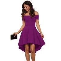 כתף כבויה סטרפלס שמלה להשתלב Slim אלגנטי סקסי המפלגה גבוהה נמוך שמלת פוליפוני נשים שמלת קיץ סגול