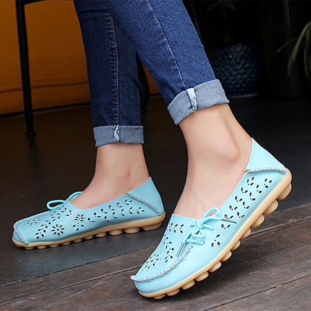 Ladies Flats Solid Cut-Outs Comfortable Moccasins