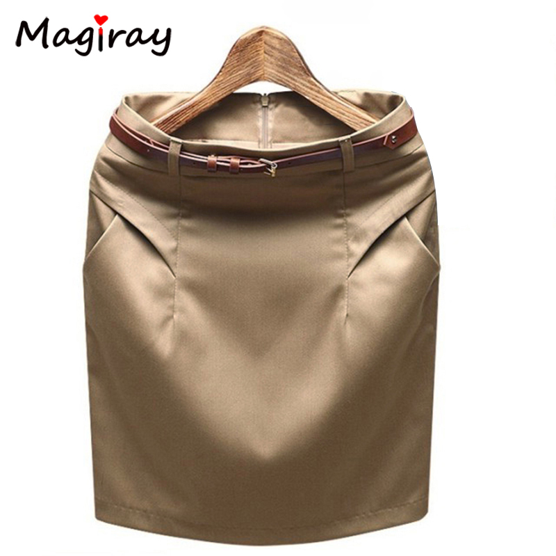 Magiray 2020 Slim Hip Plus Size Pocket Office Mini Pencil Skirt Summer Career Work Formal Suit Skirts Female High Waist C483