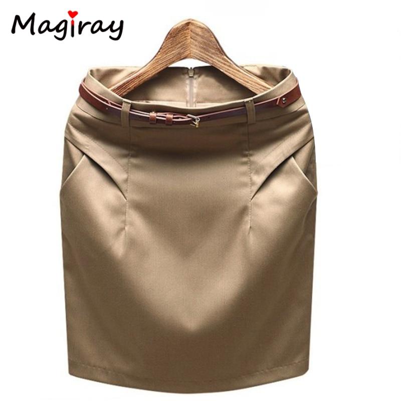 Magiray 2020 Slim Hip Plus Size Pocket Office Mini Pencil Skirt Summer Career Work Formal Suit Skirts Female High Waist C483