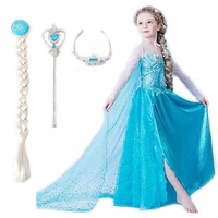2015 Elsa Dress Girls Dress Costumes Kids Cosplay Party Dress Princess Anna Dresses Elza Vestidos Infants