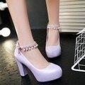 2016 Spring New Fashion Chunky High Heels Pumps Buckle Ladies Platform Shoes Size 10 Black Pink Blue White Purple