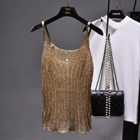 Fashion Women Knit Blingbling Tank Camis Top Sexy Hollow Out Camisole Gold Lurex Big V Neck