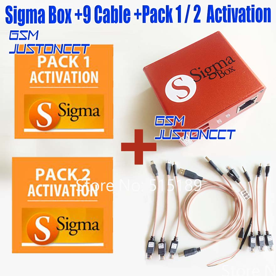 gsmjustoncct 2019 Version 100 Original new sigma box with pack1 Pack2 9 cable set