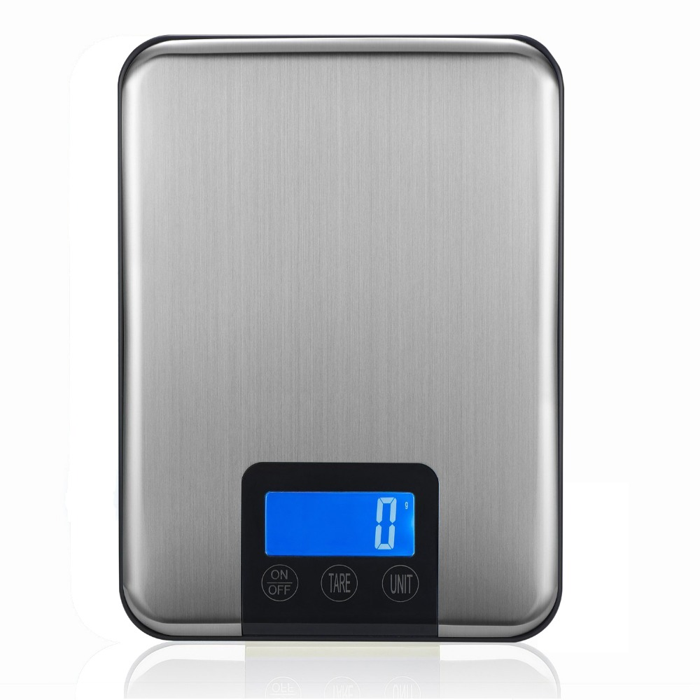Digital Kitchen Scale 15kg/1g Food Weight Electronic balance Household Scales Stainless Steel Platform Postal Shipping Scale LCD 15kg 1g c1 kitchen scales lcd display accurate digital toughened glass electronic cooking food weighing precision ht917
