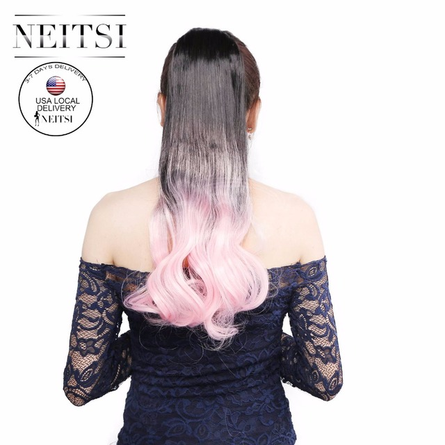 Neitsi 22 Light Pink Ombre Synthetic Ponytails Hair Extensions Long