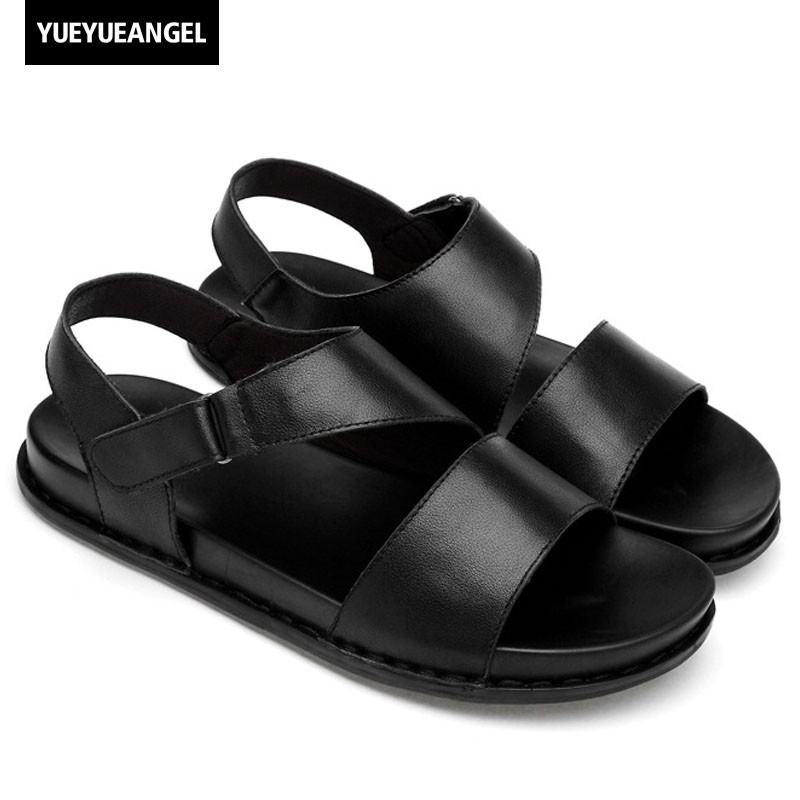 European Style 2018 Summer Platform Sandals Men Real Leather Slides Beach Open-toed Shoes Male Casual Non-Slip Gladiator Sandals