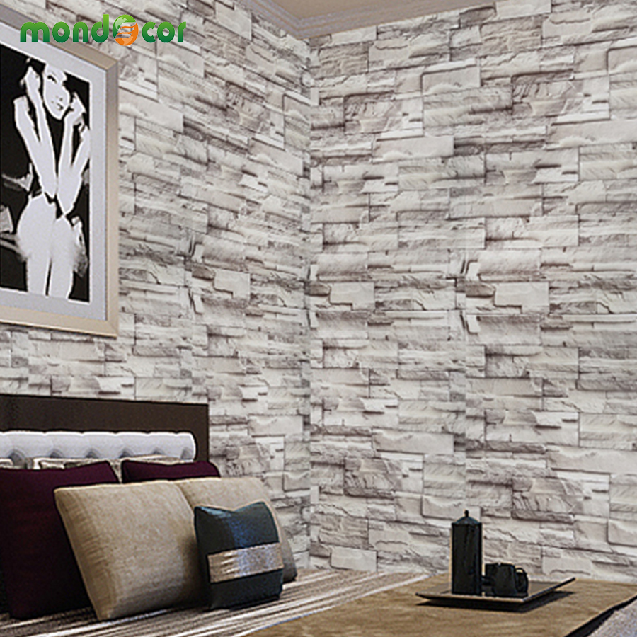 Wall tile buy cheap stone wall tile lots from china stone wall tile - 5 Meters Grey Rustic Vinyl Brick Wall Wallpaper Roll Self Adhesive Pvc Texture Photo Faux Stone