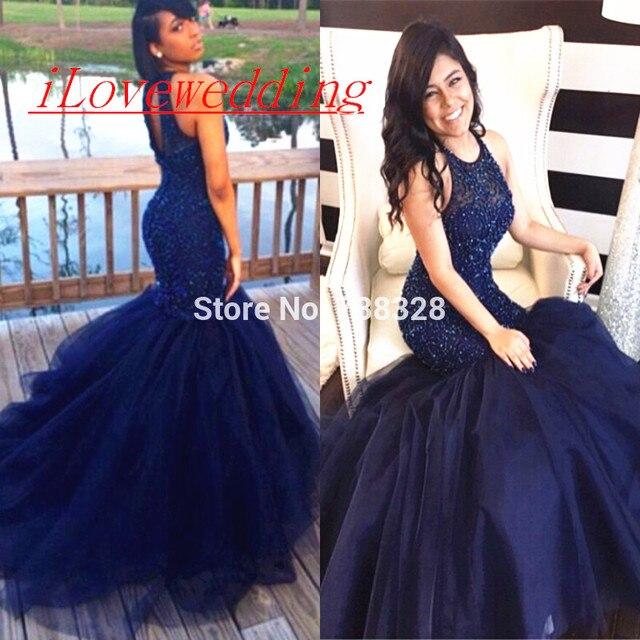 a65052203f Sexy Puffy Falda Vestidos de Fiesta Sirena Con Cuentas Azul Marino Espalda  Abierta Tulle 2016 vestidos