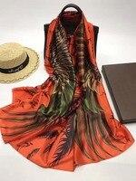 マグノリア100%シルクスクリーンサテンロングスカーフ70*180センチ純粋な絹のスカーフクラシックレディショール