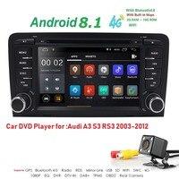 2Din 7 1024x600 QuadCore 2 GB/16 GB/32 GB Android 8,1 Audi A3 2003 2013 автомобилей Радио Стерео dvd плеер gps Sat Nav S3 RS3 RNSE PU DAB +