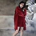 Moletom com capuz de grandes dimensões mulheres 2016 Outono moda de rua de harajuku do vintage de veludo com capuz hoodies oversize perfil
