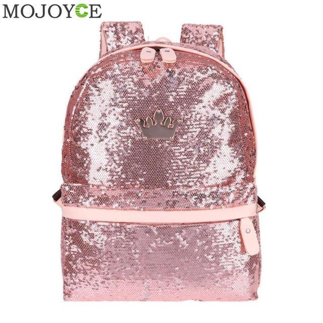 8947a8dccd271 الترتر الظهر للمراهقات مشرقة النساء أزياء عارضة صغيرة الحقائب المدرسية  السفر الظهر بارد نمط Preppy المدرسة