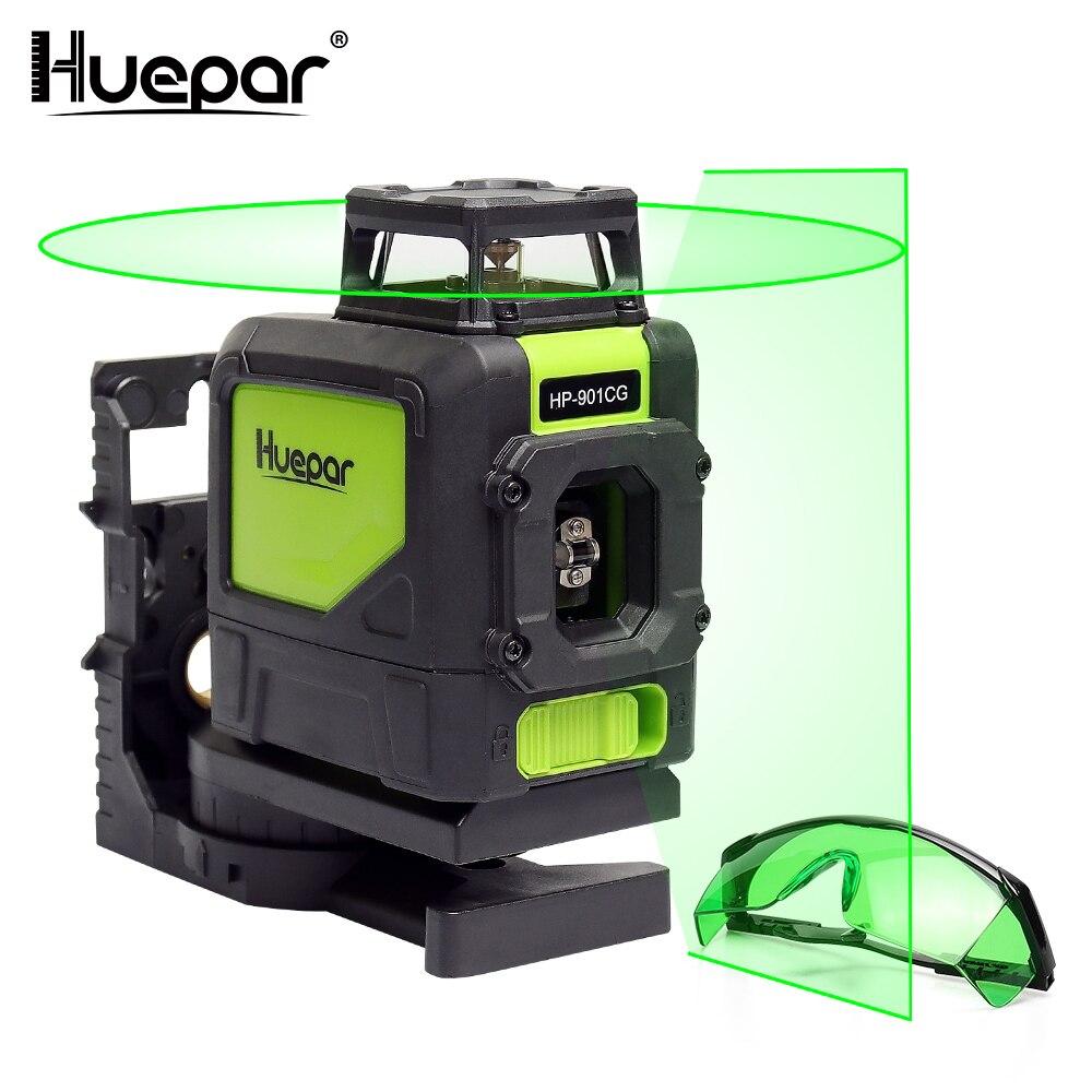Huepar лазерный уровень зеленый луч лазера наливные 360 градусов с 2 Pluse режимов + Huepar зеленый лазерный повышение очки