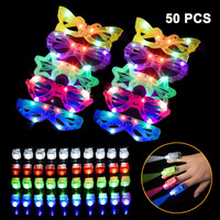 LED Light Up Toys 50 PCS Party Favors 10 Light Up Glasses 40 Light Up Finger Lights Bulk Glow in the Dark Party Supplies