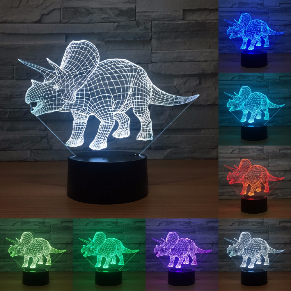 Cute Dinosaur 7 Color Lamp 3d Led Night Lights For Kids Touch Usb Table Lampara Lampe Baby Sleeping Nightlight IY803268