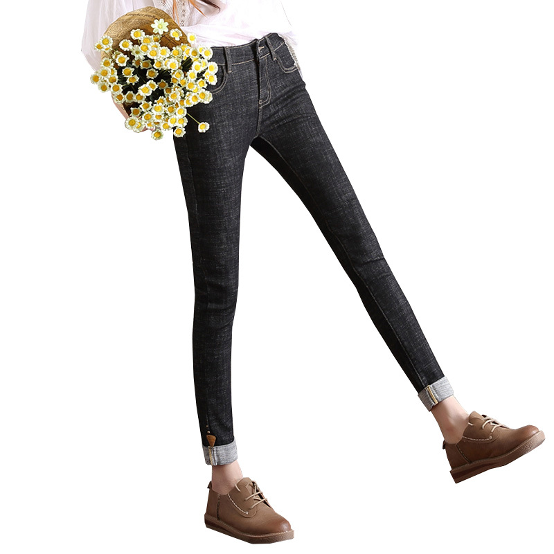 black jeans woman 2017 fashion embroidered flares female casual denim jeans slim fit elastic cuffs cropped jeans pants for women