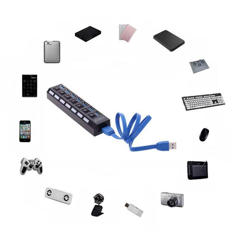 7-ميناء 5 جرام Mbps عالية السرعة USB 3.0 المحور مع المستقل على/قبالة التبديل مؤشر LED أسود و 1A الولايات المتحدة الاتحاد الأوروبي شاحن