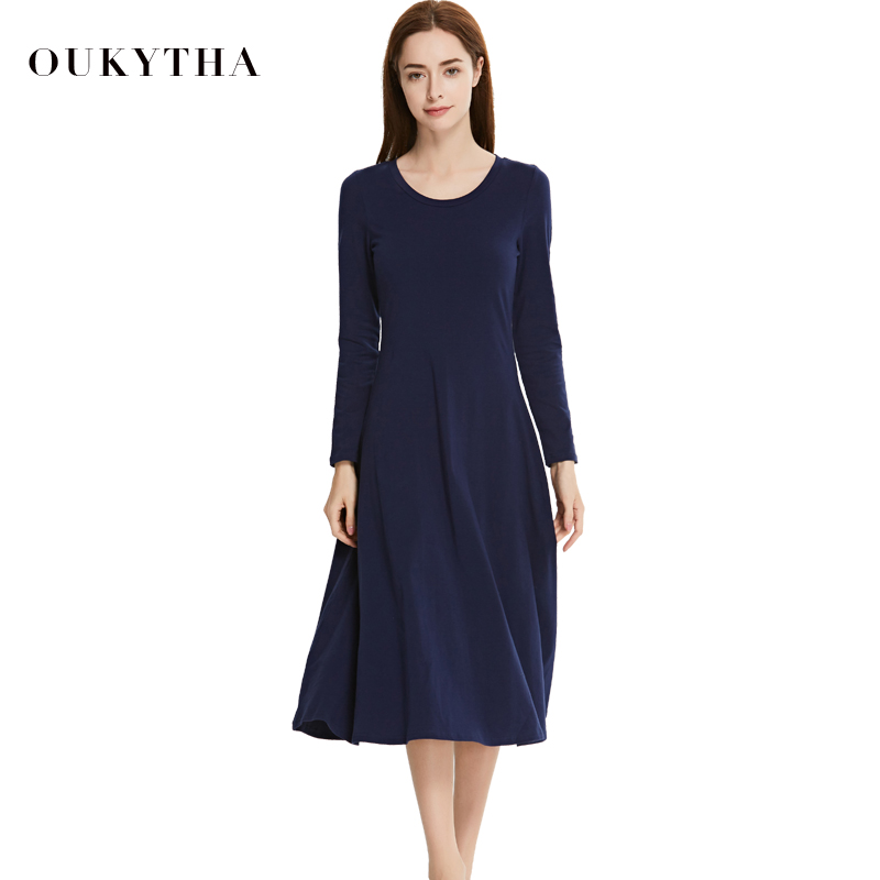 Oukytha 2018 spring Long Sleeves Slim Fit Long Dress Casual All-match Female Dress O-neck High Waist Cotton Dress WomenWQZ172564