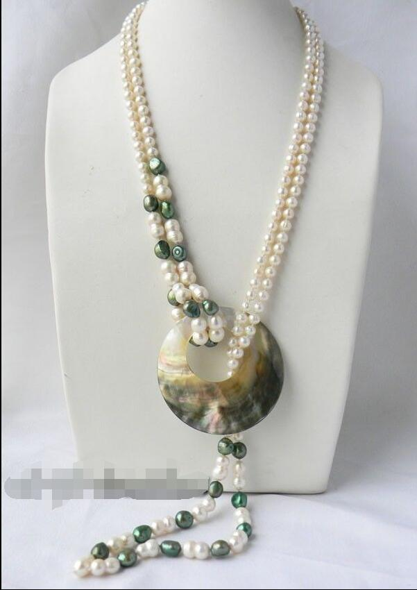 jewerly free shipping 2Strands 30'' White Round Green Baroque Freshwater Pearl Shell Pendant Nacklace