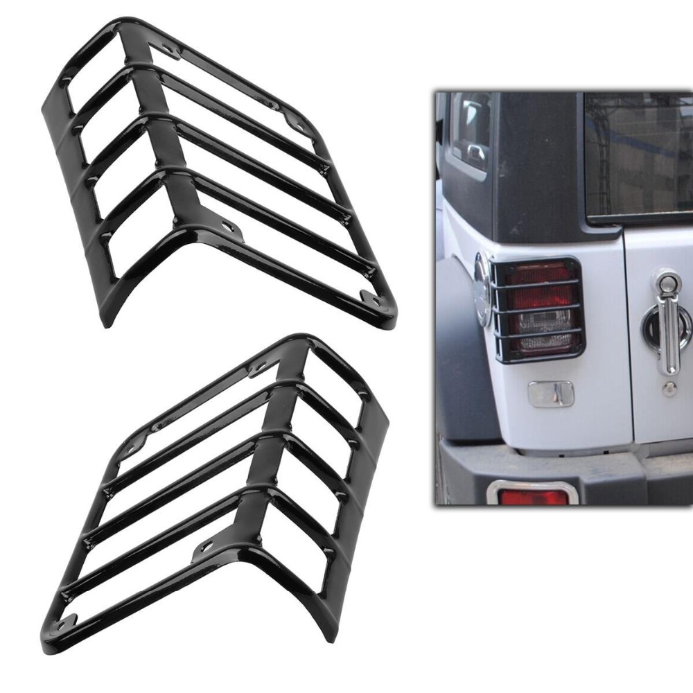 2pcs Black Euro Stainless Metal Tail Light Lamp Guard Cover for 07-15 Jeep JK Wrangler high quality stainless steel black light guard rear taillights cover for 07 17 jeep wrangler jk 2 door