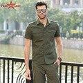 Algodón Hombres Camisa Chemise Homme Camisas Hombre Camisas de Manga corta Para Hombre verde del ejército Camisa Masculina Camisas casuales MS-6262A