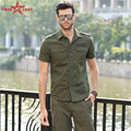 Cotton Chemise Homme Men Shirt Camisas Hombre short Sleeve Mens army green Shirts Camisa casual Masculina Shirts MS-6262A