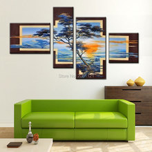 Hand Painted tree Decorations For Home 4 Piece Canvas Wall Art Modern Pictures Landscape Large Oil Paintings Living Room