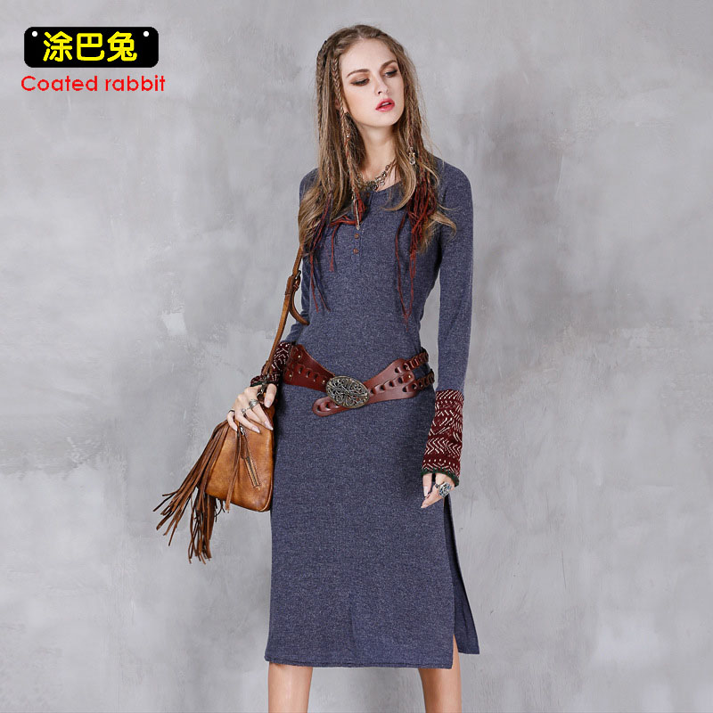Coated rabbit O-Neck Knitted Long Dress Women 2018 Winter Slim Vintage Gray Patchwork Long Sleeve Dress Female Split the fork coated rabbit knitted women dress 2018 spring elegant loose long sleeve o neck pockets dress casual female plus size