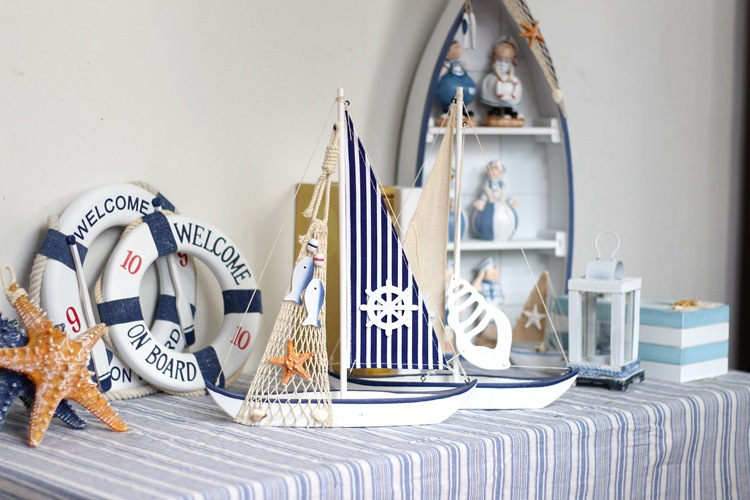Wooden Sailing For Home Furnishing Decor Boat Office Ship Decoration In Shells Starfishes From Garden On