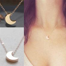 New fashion women jewelry Moon Silver Gold Long Necklace Solid Chain Pendant Necklace(China)