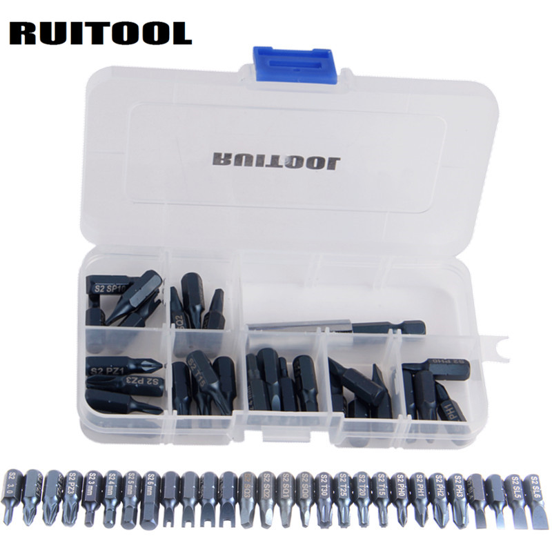 RUITOOL 29pcs Magnetic Bit Set With Tool Box Bit Holder Tips Screwdriver Phillips Hex Torx Screwdriver Bits Tool Kit laoa 36pcs ratchet screwdriver sets with s2 bit hex slotted phillips y shaped pentacle torx bits hand tools pdr kit outillage